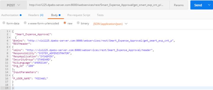postman code payload oracle plsql package example