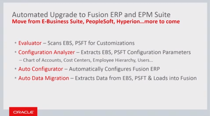 Move from E-Business Suite, PeopleSoft, Hyperion